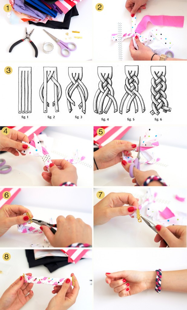 DIY-bracelet en tissus façon tresse à 4 brins