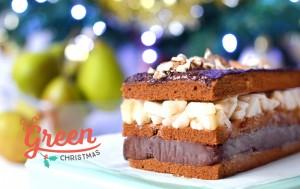 Dessert de Noël : bûche façon millefeuilles poire, amande, chocolat (vegan, sans gluten)