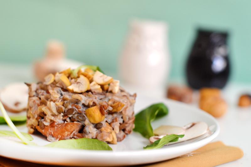 Plat de Noël : risotto aux champignons et aux châtaignes (vegan, sans gluten)