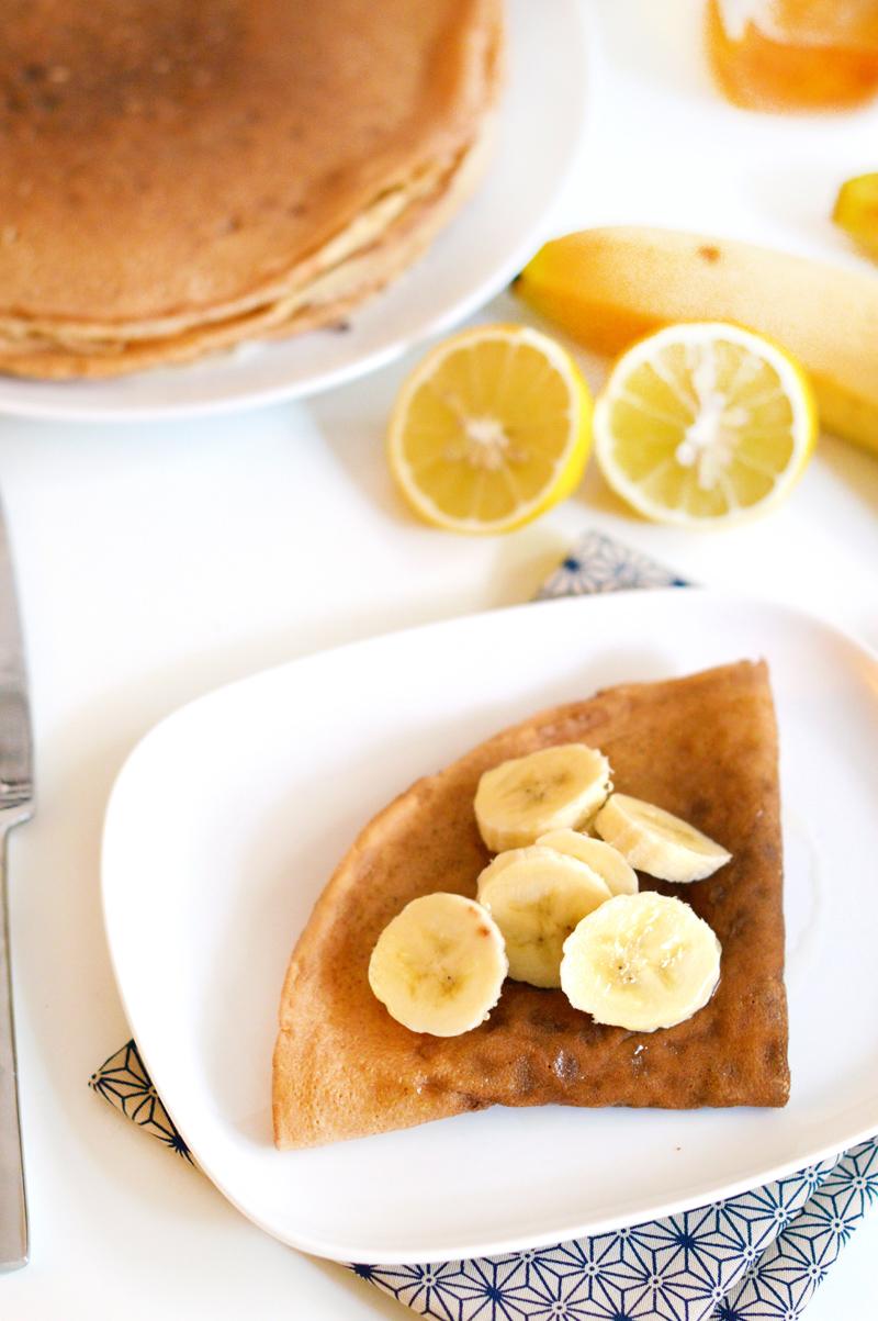 Crêpes vegan et sans gluten - Banane, sirop d'agave, citron