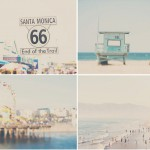 beach photograph, santa monica, pacific ocean, santa monica pier, beach decor, beach, california, landscape photography, LA, blue