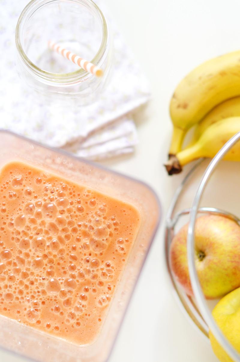 smoothie pomme banane orange framboises avec Omniblend V
