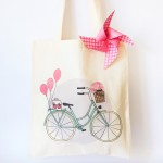 Totebag bicycle en coton bio Charlotte and the teapot