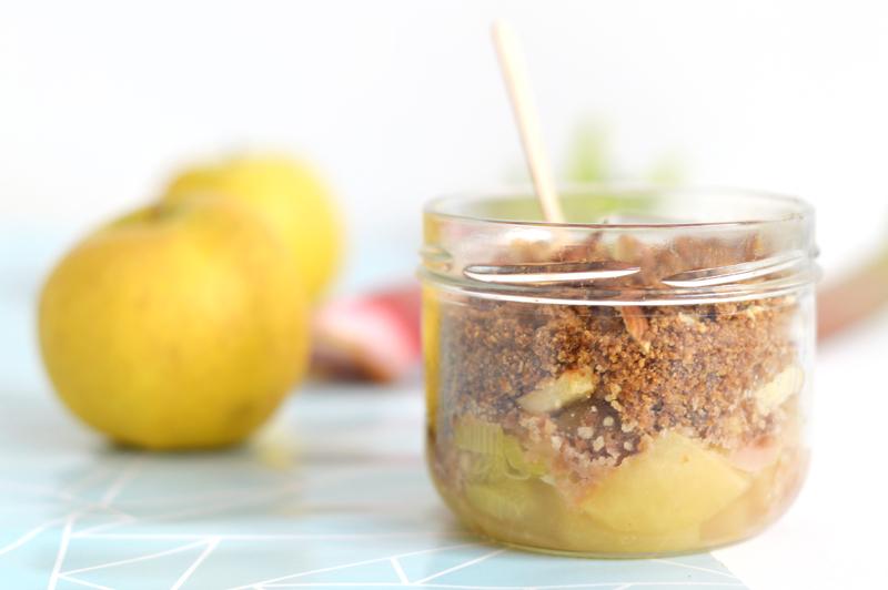 Recette crumble pomme rhubarbe vegan sans gluten