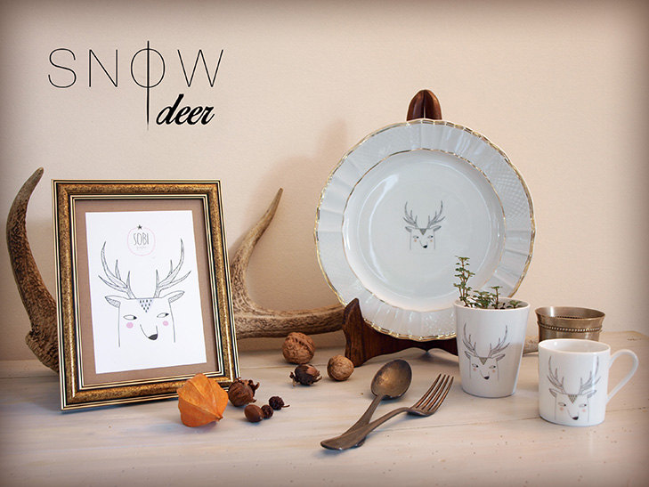 Mug + verre à thé Snow Deer Sobigraphie