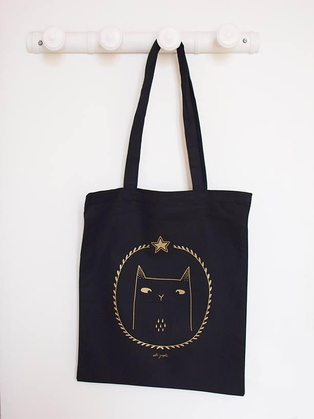 Sobigraphie totebag chat noir et doré