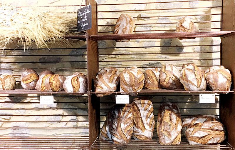 Boulangerie unique proposant des pains fait avec des variétés de blé anciennes cultivées en agriculture biologique à quelques kilomètres du village.