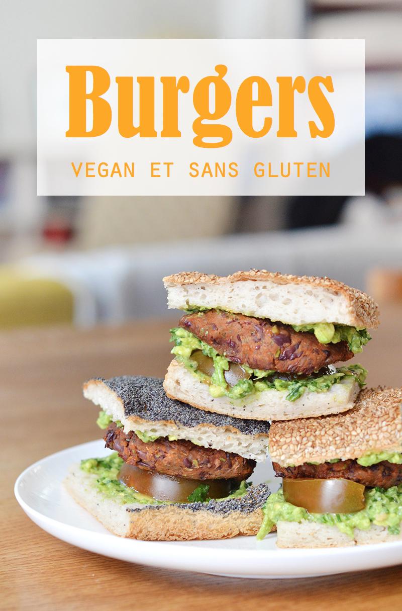 Un burger vegan et sans gluten avec un steak végétal à base de haricots rouge, du guacamole et la foccaccia sans gluten de chez Chambelland !