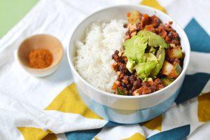 Assiette tex mex express aux haricots azuki (vegan, sans gluten)