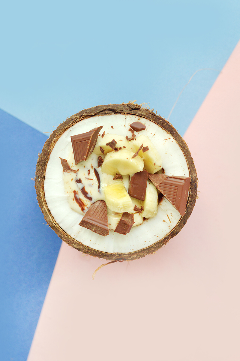 banane-chocolat-coco (mon trio gagnant !) avec un effet un peu stracciatella (miam miam !).