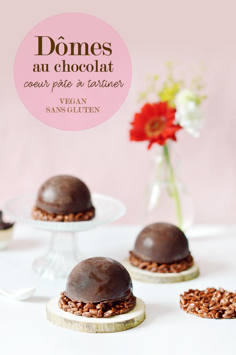 Ces dômes vegan et sans gluten sont composés d'une coque en chocolat, d'une mousse au chocolat, d'un coeur pâte à tartiner et d'une base au riz soufflé !
