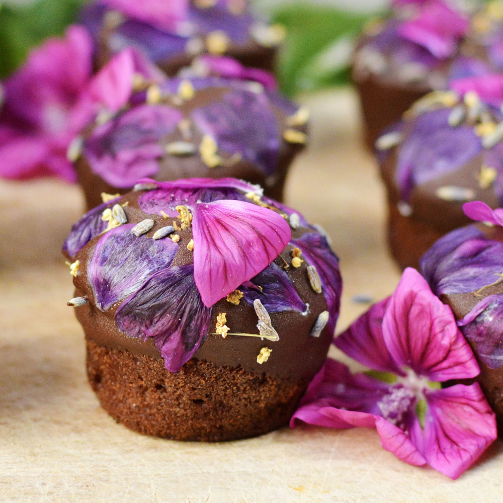 Muffins chocolat et fleurs