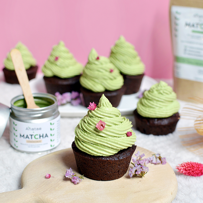 Cupcakes chocolat matcha avec Anatae