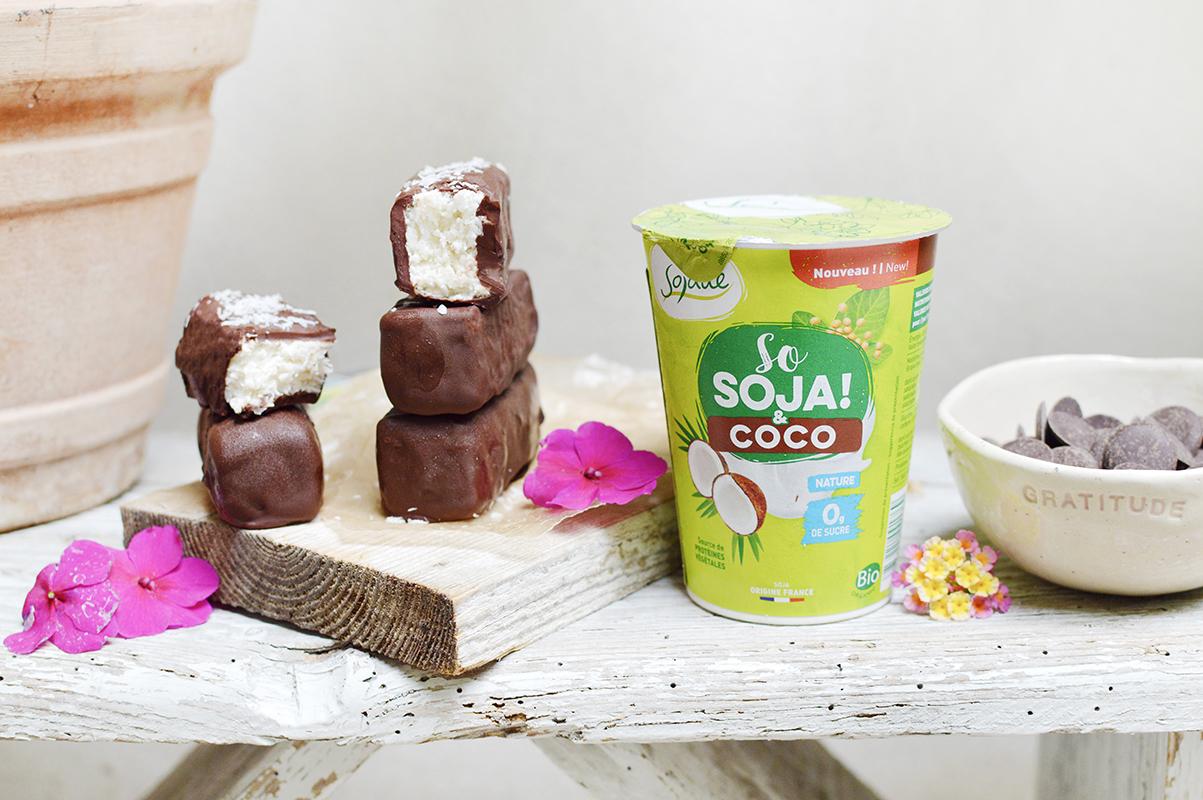 Barres coco-chocolat avec Sojade